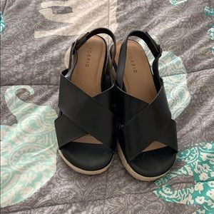 Torrid Black Ankle Strap Wedges